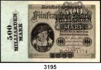 P A P I E R G E L D,Weimarer Republik 500 Milliarden Mark Überdruckprovisorium auf dem 5000 Mark-Schein vom 15.3.1923.  Ros. DEU 146 a.