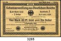 P A P I E R G E L D,Staatliches wertbeständiges Notgeld 4,20 Mark Gold = 1 Dollar 25.8.1923.  Ros. WBN-9 a.