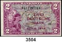 P A P I E R G E L D,BUNDESREPUBLIK DEUTSCHLAND 2 Deutsche Mark 1948.  A....A.  Mit B-Stempel.  Ros. WBZ-15 a.