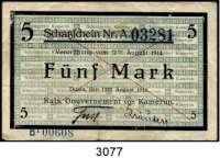 P A P I E R G E L D,D E U T S C H E      K O L O N I E N Kamerun5 Mark 12.8.1914. A. 01706.  Strichentwertung.  Zusätzlicher blauer Paginierstempel.  Ros. KAM-1.