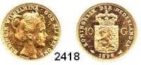 AUSLÄNDISCHE MÜNZEN,Niederlande Wilhelmina I. 1890 - 194810 Gulden 1898  (6,04g fein).  Schulman 744.  Schön 75.  KM 124.  Fb. 348.  GOLD