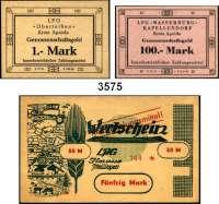 P A P I E R G E L D,D D R Kleines LOT von 35 LPG-Scheinen.  Dazu ein eingelöster Aussenhandelsbankscheck über 100 Mark.  LOT 36 Stück.