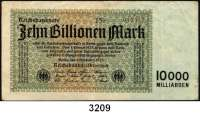 P A P I E R G E L D,Weimarer Republik 10 Billionen Mark 1.11.1923.  FZ E.  WZ : Distelstreifen.  Ros. DEU-158 c.