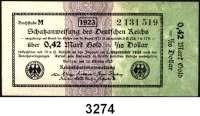 P A P I E R G E L D,Staatliches wertbeständiges Notgeld 0,42 Mark Gold = 1/10 Dollar  26.10.1923.  KN 7-stellig.  Ros. WBN-12 b.