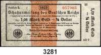 P A P I E R G E L D,Staatliches wertbeständiges Notgeld 1,05 Mark Gold = 1/4 Dollar 26.10.1923.  FZ: AD.  Ros. WBN-13 k.