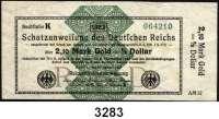 P A P I E R G E L D,Staatliches wertbeständiges Notgeld 2,10 Mark Gold = 1/2 Dollar 26.10.1923.  FZ: AM.  Ros. WBN-14 a.