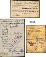 P A P I E R G E L D,L A G E R G E L D LitzmannstadtOriginaldokumente aus Archivauflösung.  Zigarettenkarte, Nahrungsmittelkarte, Legitimationskarte, Talon mit Einlösungsvermerk(vermutlich Rezept) sowie ein Dokument in hebräischer Sprache.  LOT 5 Stück.