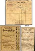 P A P I E R G E L D,L A G E R G E L D LitzmannstadtOriginaldokumente aus Archivauflösung.  Zigarettenkarte, Nahrungsmittelkarte, Legitimationskarte, Milchkarte sowie ein Dokument in hebräischer Sprache.  LOT 5 Stück.