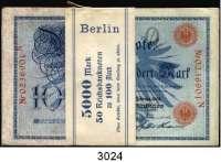 P A P I E R G E L D,K A I S E R R E I C H 100 Mark 7.2.1908.  LOT 50 Scheine.  Originalbündel mit Banderole (diese fleckig).  Fortlaufende Nummern.  Ros. DEU-31 b.