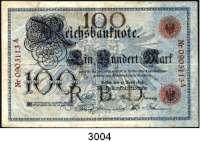 P A P I E R G E L D,K A I S E R R E I C H 100 Mark 10.4.1896.  0903113 A.  Ros. DEU-11.