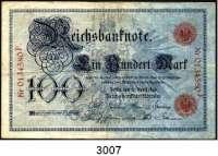 P A P I E R G E L D,K A I S E R R E I C H 100 Mark 10.4.1896.  0134580 F.  Ros. DEU-11.