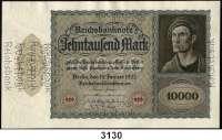 P A P I E R G E L D,Weimarer Republik 10.000 Mark 19.1.1922.  Ohne Unterdruck.  Ohne Serie.  Ohne KN.  Vierseitig perforiert: