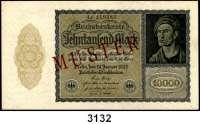 P A P I E R G E L D,Weimarer Republik 10.000 Mark 19.1.1922.  Ros. DEU-78 a, b, c, d.  Ein Schein mit einseitigem roten Aufdruck