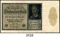 P A P I E R G E L D,Weimarer Republik 10.000 Mark 19.1.1922.  Schaurand mit Ornament rechts statt links (Manipulation durch versetzte Schnitte aus ganzem Druckbogen).  Ros. DEU-78 Ma.