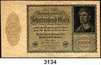 P A P I E R G E L D,Weimarer Republik 10.000 Mark 19.1.1922.  FZ: 7N.  Papier hellbraun.  WZ:  Kreuzblüten.  Der Schein ist beschnitten (172x100mm statt 180x100mm).  Ros. DEU-79.