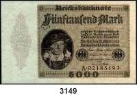 P A P I E R G E L D,Weimarer Republik 5000 Mark 15.3.1923.  Ohne Überdruck.  Serie: A.  Ros. DEU-98.