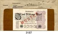 P A P I E R G E L D,Weimarer Republik 2 Millionen Mark 9.8.1923.  Vorderseitig mit rotem Überdruck