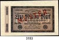 P A P I E R G E L D,Weimarer Republik 1 Million Mark 25.7.1923.  Kölner Provisorium.  FZ: DB.  Mit beidseitigem roten Aufdruck
