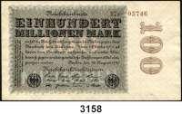 P A P I E R G E L D,Weimarer Republik 100 Millionen Mark 22.8.1923.  FZ braun P.  KN 5-stellig.  Ros. DEU-120 b.