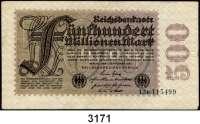 P A P I E R G E L D,Weimarer Republik 500 Millionen Mark 1.9.1923.  FZ: R.  Wertzahl am rechten Rand von außen statt von innen lesbar.  Ros. DEU-125 F1.