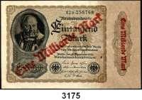 P A P I E R G E L D,Weimarer Republik 1 Milliarde Mark Überdruckprovisorium auf dem 1000 Mark-Schein vom 15.12.1922.  Überdruck(doppelt? unsauber?) nur auf der Vorderseite.  Ros. DEU-126 F a.