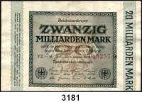 P A P I E R G E L D,Weimarer Republik 20 Milliarden Mark 1.10.1923.  KN 6-stelllig(000257) rot.  FZ grün