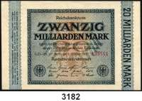 P A P I E R G E L D,Weimarer Republik 20 Milliarden Mark 1.10.1923.  Ros. DEU-137 ab, c, d, e, f, g.  LOT 6 verschiedene Scheine.