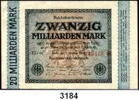 P A P I E R G E L D,Weimarer Republik 20 Milliarden Mark 1.10.1923.  Randleiste auf der linken Seite.  KN 6-stellig.  Ros. DEU-138 b.