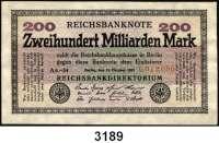P A P I E R G E L D,Weimarer Republik 200 Milliarden Mark 15.10.1923.  FZ: AK.  Wz. Ringe.  Ros. DEU-143 c.
