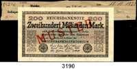 P A P I E R G E L D,Weimarer Republik 200 Milliarden Mark 15.10.1923.  FZ: WB.  Mit vorderseitigem roten Aufdruck