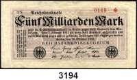 P A P I E R G E L D,Weimarer Republik 5 Milliarden Mark 20.10.1923.  Ros. DEU-145 a(gebraucht) bis f.  Dabei Serie AN.  KN 4-stellig rot.  LOT 6 Scheine.