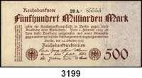 P A P I E R G E L D,Weimarer Republik 500 Milliarden Mark 26.10.1923.  Ros. DEU-151 a, b, 152 a, b, d.  LOT 5 Scheine.