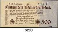 P A P I E R G E L D,Weimarer Republik 500 Milliarden Mark 26.10.1923.  FZ: BE.  Ros. DEU-152 c.