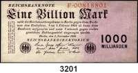 P A P I E R G E L D,Weimarer Republik 1 Billion Mark 1.11.1923.  Serie: F.  Ros. DEU-155 a.