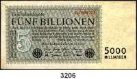 P A P I E R G E L D,Weimarer Republik 5 Billionen Mark 1.11.1923.  FZ: Z.  Ros. DEU-156 b.
