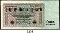 P A P I E R G E L D,Weimarer Republik 10 Billionen Mark 1.11.1923.  FZ: AE.  Ros. DEU-158 b.