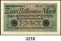P A P I E R G E L D,Weimarer Republik 2 Billionen Mark 5.11.1923.  FZ: DK(gebr.).  OH(sehr stark gebraucht).  BH(gebraucht).  BR(stärker gebraucht).  Ros. DEU-163 b, c, e(2).  LOT 4 Scheine.