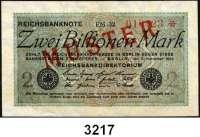 P A P I E R G E L D,Weimarer Republik 2 Billionen Mark 5.11.1923.  FZ: FM.  Mit vorderseitigem roten Aufdruck