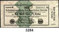 P A P I E R G E L D,Staatliches wertbeständiges Notgeld 2,10 Mark Gold = 1/2 Dollar 26.10.1923.  FZ: AV 9.  Ros. WBN-14 c.