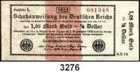 P A P I E R G E L D,Staatliches wertbeständiges Notgeld 1,05 Mark Gold = 1/4 Dollar 26.10.1923.  FZ: AX (nicht im Katalog Rosenberg).  KN 6-stellig.  Rückseitig  R B D.  Zu Ros. WBN-13 a.