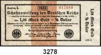 P A P I E R G E L D,Staatliches wertbeständiges Notgeld 1,05 Mark Gold = 1/4 Dollar 26.10.1923.  FZ: AM 12.  Ros. WBN-13 g.