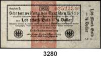 P A P I E R G E L D,Staatliches wertbeständiges Notgeld 1,05 Mark Gold = 1/4 Dollar 26.10.1923.  FZ: AY 4.  II.  Ros. WBN-13 j.