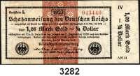 P A P I E R G E L D,Staatliches wertbeständiges Notgeld 1,05 Mark Gold = 1/4 Dollar 26.10.1923.  FZ: AM 14.  IV.  Ros. WBN-13 l.