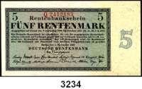 P A P I E R G E L D,R E N T E N B A N K 5 Rentenmark 1.11.1923.  KN 7-stellig.  Serie: Q.  Ros. DEU-201 b.