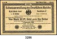 P A P I E R G E L D,Staatliches wertbeständiges Notgeld 4,20 Mark Gold =  1 Dollar 25.8.1923.  KN 6-stellig.  FZ: 2 AD.  Ros. WBN-9 c.