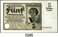 P A P I E R G E L D,R E N T E N B A N K 5 Rentenmark 2.1.1926.  Serie: D.  KN 8-stellig.  KN braun.  Ros. DEU-209 F.