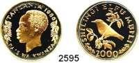 AUSLÄNDISCHE MÜNZEN,Tansania 2000 Shilingi 1986.  (9,16g fein).  Goldbauch-Nektarvogel.  Schön 22.  KM 19.  Fb. 4.  Mit Zertifikat.  GOLD