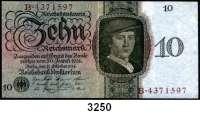 P A P I E R G E L D,R E I C H S B A N K 10 Reichsmark 11.10.1924.  KN 7-stellig.  U/B.  Ros. DEU-173 a.
