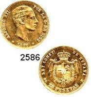 AUSLÄNDISCHE MÜNZEN,Spanien Alfons XII. 1874 - 188525 Peseten 1880(80).  (7,25g fein).  Schön 170.  KM 673.  Fb. 342.  GOLD