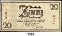 P A P I E R G E L D,Notausgaben Frühjahr 1945 Notausgaben der Sächsischen Staatsbank20 Reichsmark 26.4.1945.  Serie V.  Dazu 20 Reichsmark 28.4.1945.  Ros. DEU-260 a und 262.  LOT 2 Scheine.